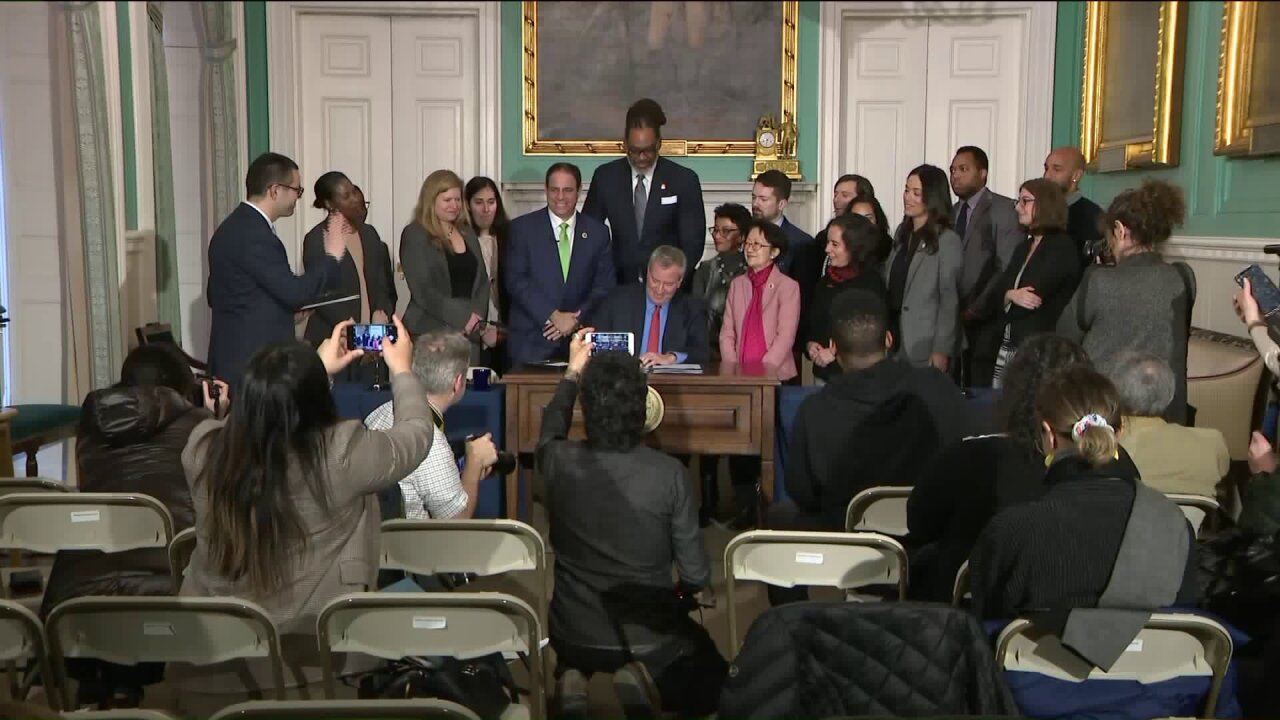 Mayor Bill de Blasio signed Intro. 1785, expanding health care benefits to surviving 9/11 family members of city employees on February 11, 2020.
