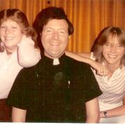 Christy Miller as a teenager with priest Tom Brunner.