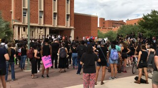UA students hold demonstration to support alleged attack victim