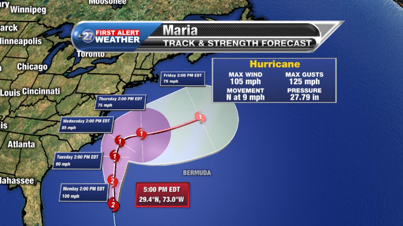 Hurricane Maria forecast cone, 9/24/2017