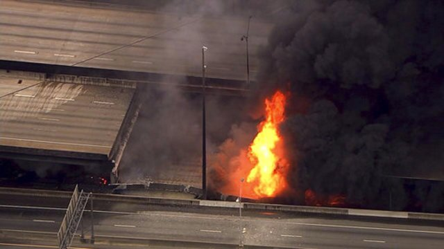 Massive fire causes overpass to collapse on Atlanta interstate