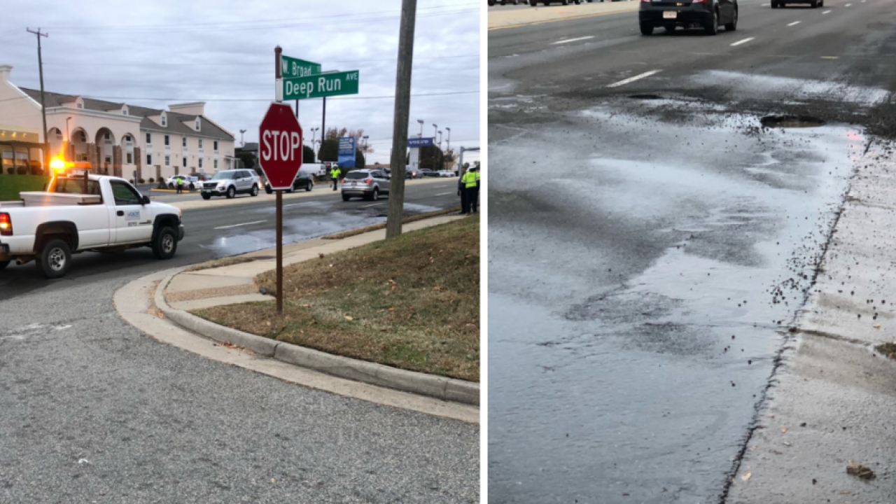 Water main break closes lane of West Broad Street in Henrico