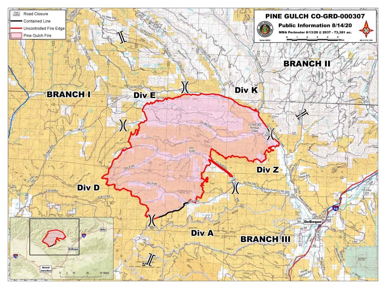 Pine Gulch Fire map_Aug 13 2020 8:37pm