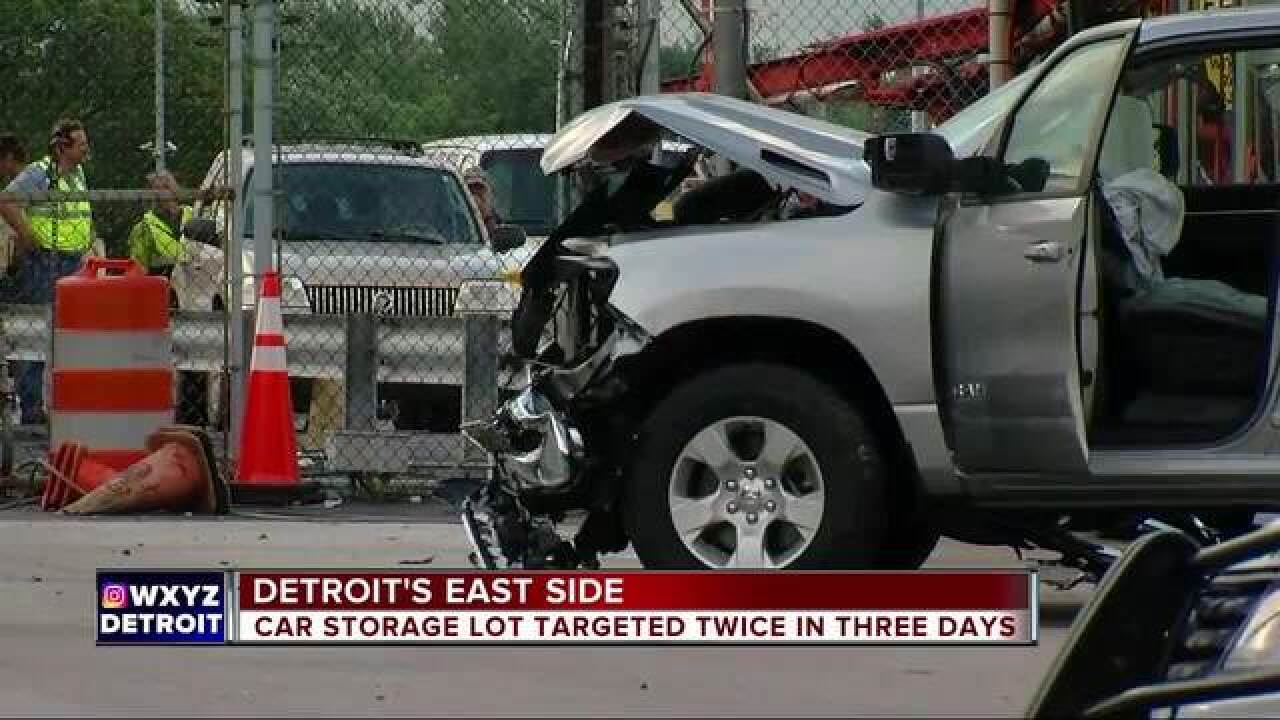 Car storage lot in Detroit targeted twice