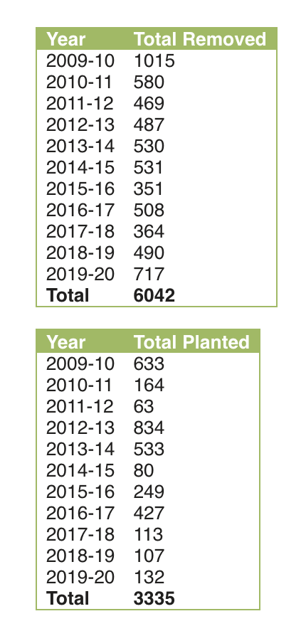Trees removed vs. trees planted in the city of Lansing over the past 10 years