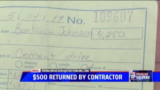 Update: $500 returned to veteran, so far, for unstarted paving project