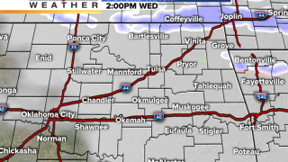 Future track radar shows timeline of when snow and precipitation will come into northeast Oklahoma