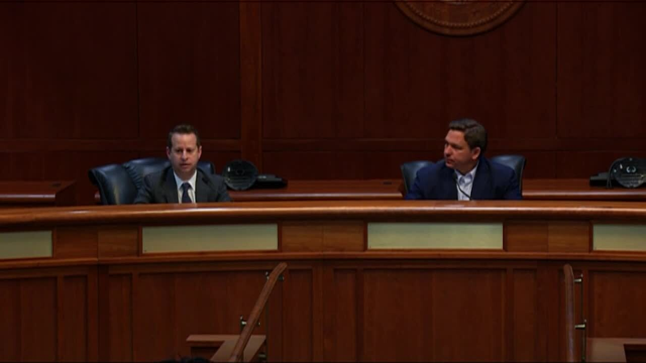 Gov. Ron DeSantis and Jared Moskowitz at Florida Capitol in Tallahassee, March 19, 2021