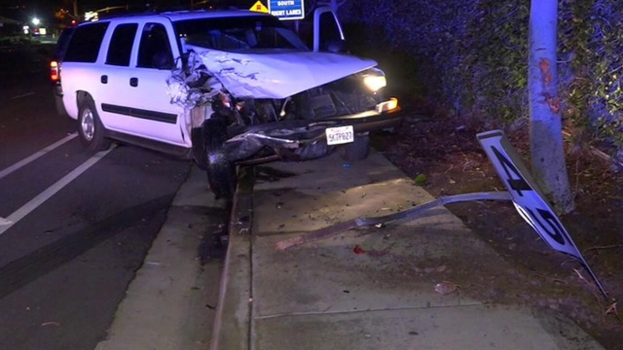 Burglary suspect smashes into SDPD SUV
