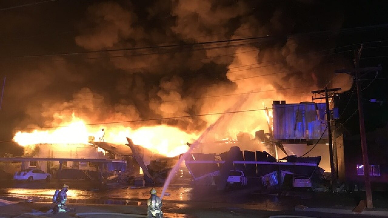 Explosion causes building fire