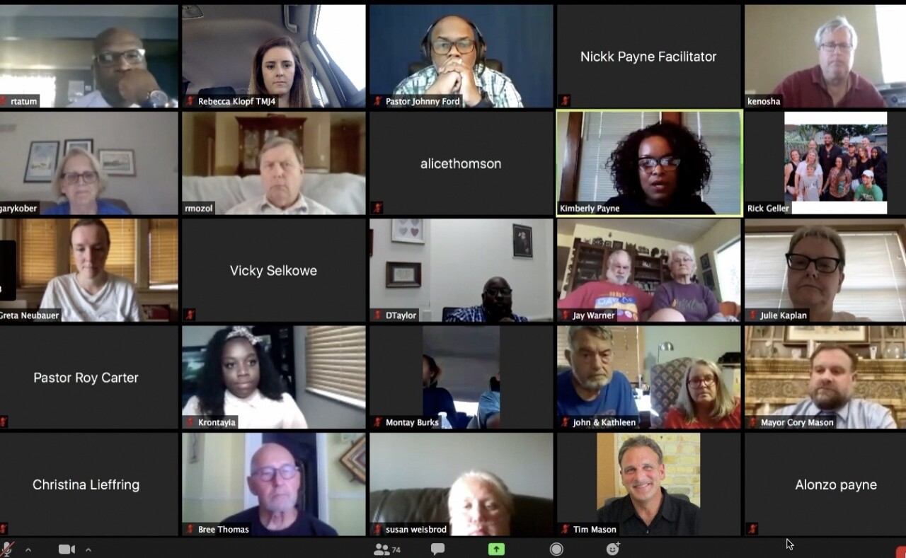Some of the community members take part in the first virtual community conversation over Zoom about police reforms in Racine following a new initiative by Mayor Cory Mason.