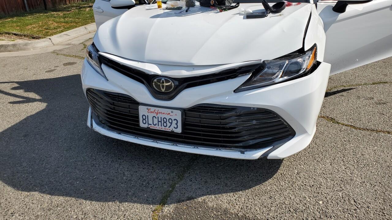 Front end damage of suspect car