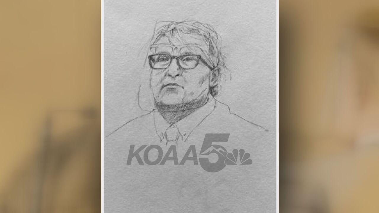 A court sketch of Pueblo Police Officer Melissa Jacober