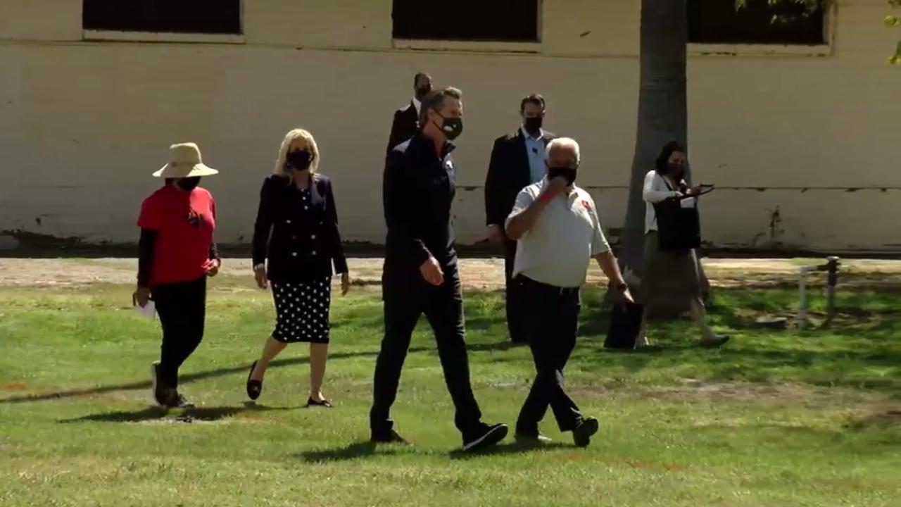 Gavin Newsom During First Lady Dr. Jill Biden's visit to Delano
