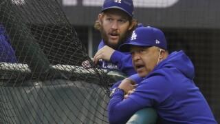 Clayton Kershaw Dave Roberts World Series Rays Dodgers Baseball
