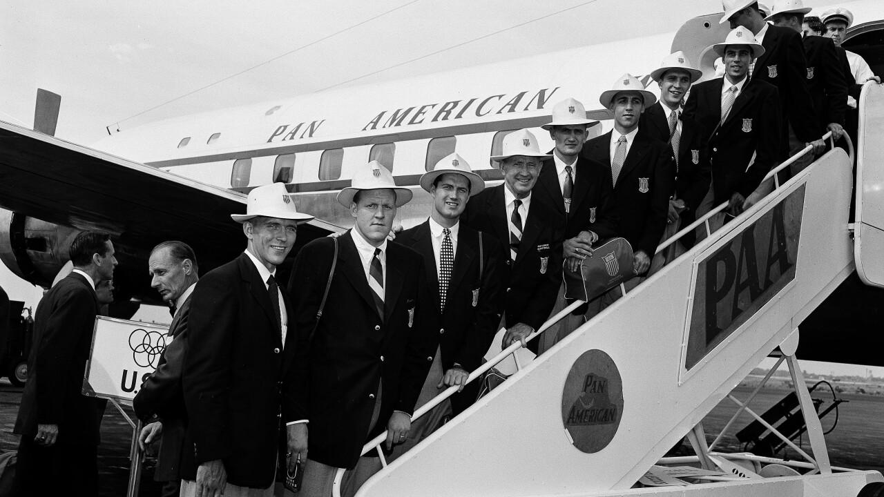 Forrest C. Allen, Phog Allen, Bob Kenny, Clyde Lovellette, Charles Hoag, John Keller, Dean Kelley, Bill Hougland, and Bill Lienhard