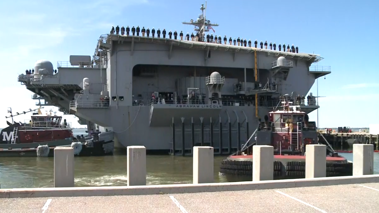 Watch: USS Abraham Lincoln deploys from Norfolk, will shift to new home in California