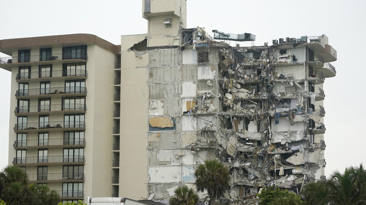 View of Champlain Towers South condo building after partial collapse, June 24, 2021