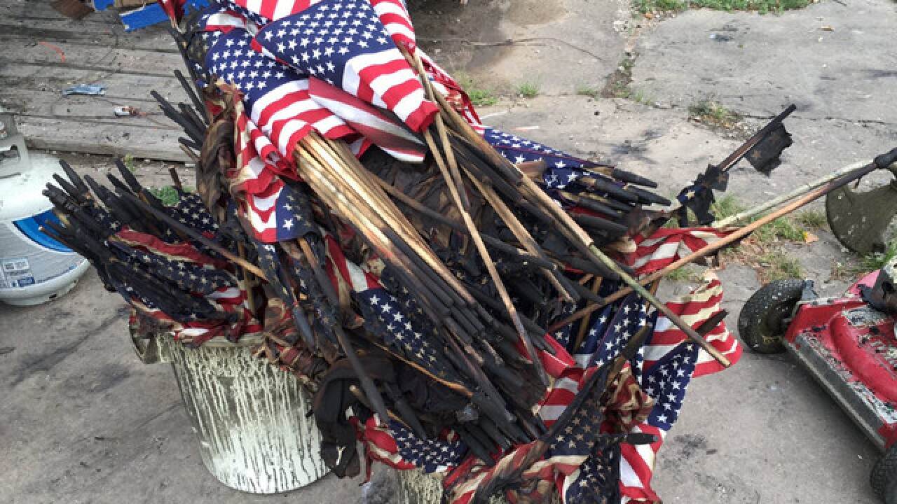 U.S. flags destroyed in American Legion fire