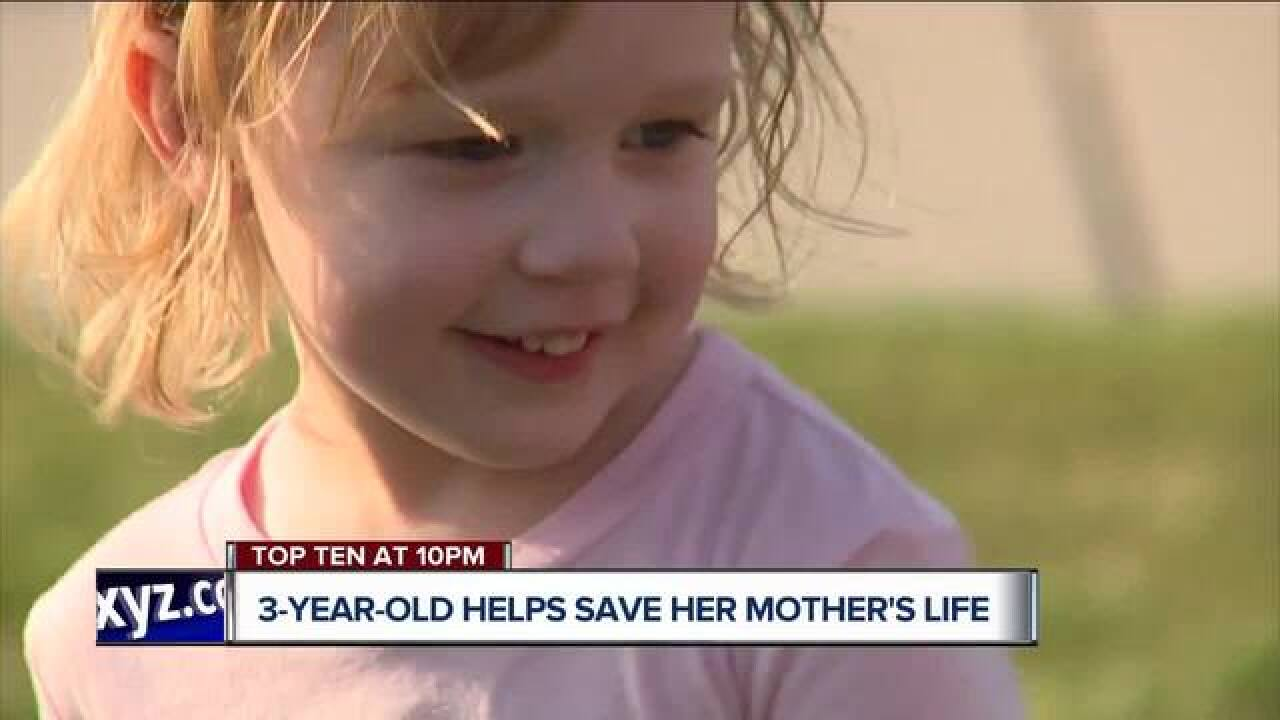 3-year-old credited with saving mother's life