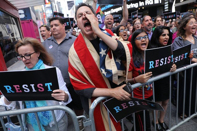 New Yorkers protest President Trump's transgender military ban