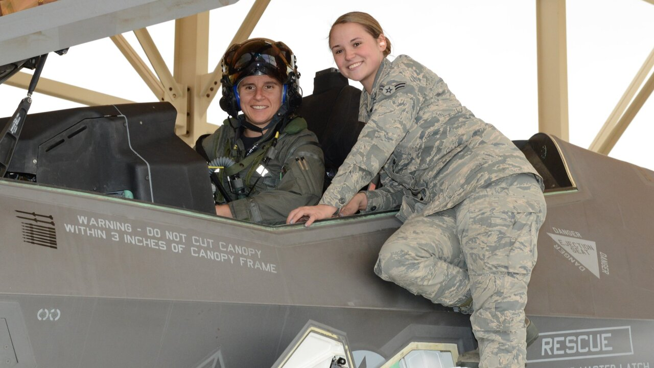Maj. Rachael Winiecki, left, and crew chief Airman 1st Class Heather Rice after the test flight.