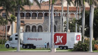Moving truck parked outside Mar-a-Lago Club, Jan. 18, 2021