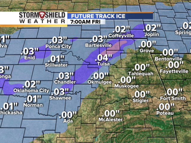 How much ice accumulation is the radar forecasting for Tulsa and northeast Oklahoma?