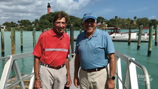 Thursday partners Joe Namath and Charlie Modica arrived on a boat named the Bystander, built in 1930, to cut the ribbon for the grand opening.