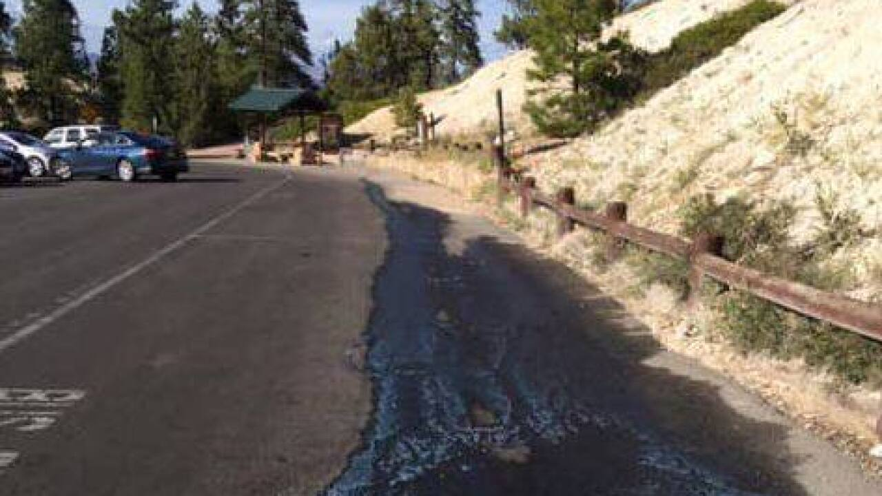 Bus dumps sewage tank at Bryce Canyon's Inspiration Point bus parking area