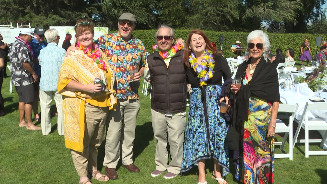 The luau at the Santa Maria Country Club featured music, a tiki bar, and even an authentic Hawaiian pig roast.