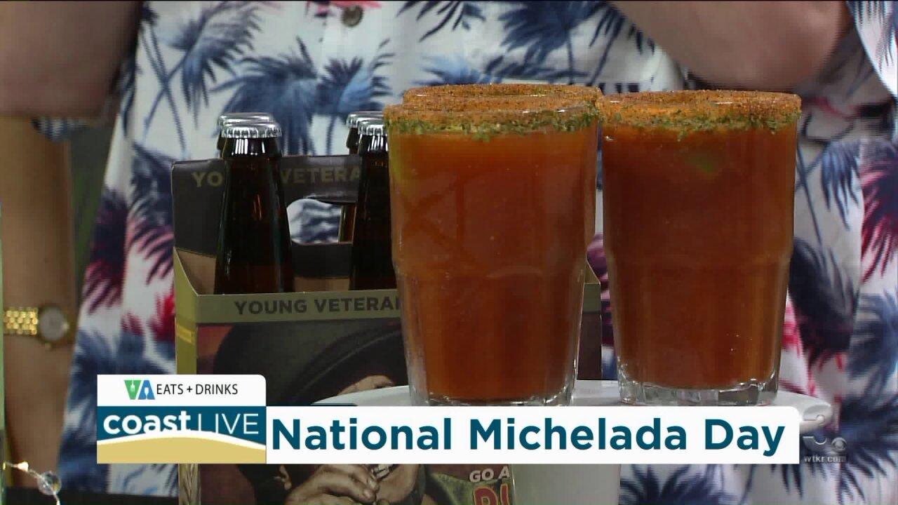 Making cocktails for National Michelada Day on CoastLive