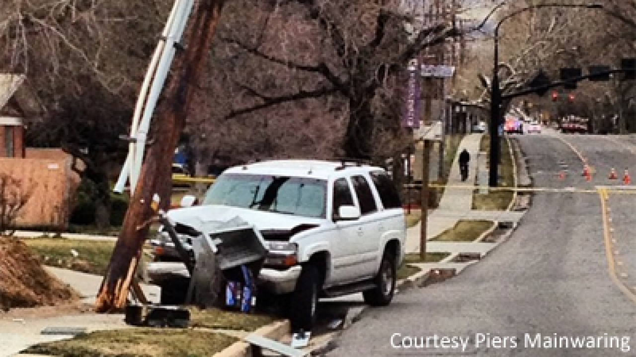 Power out in Sugar House after SUV crashes into pole