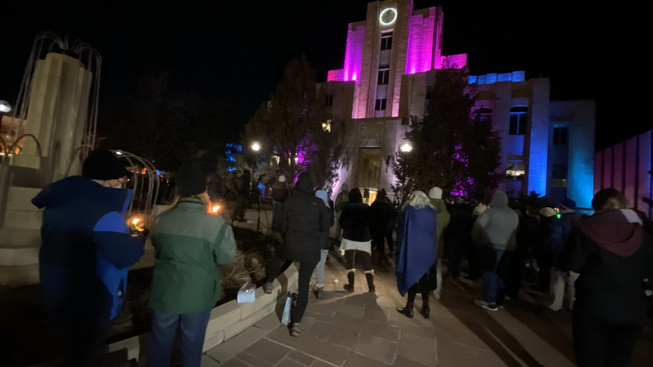 Vigil attendees outside the Boulder County Court House