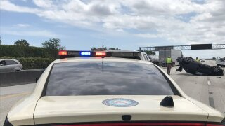 FHP cruiser at scene of fatal crash on Florida's Turnpike, April 6, 2021