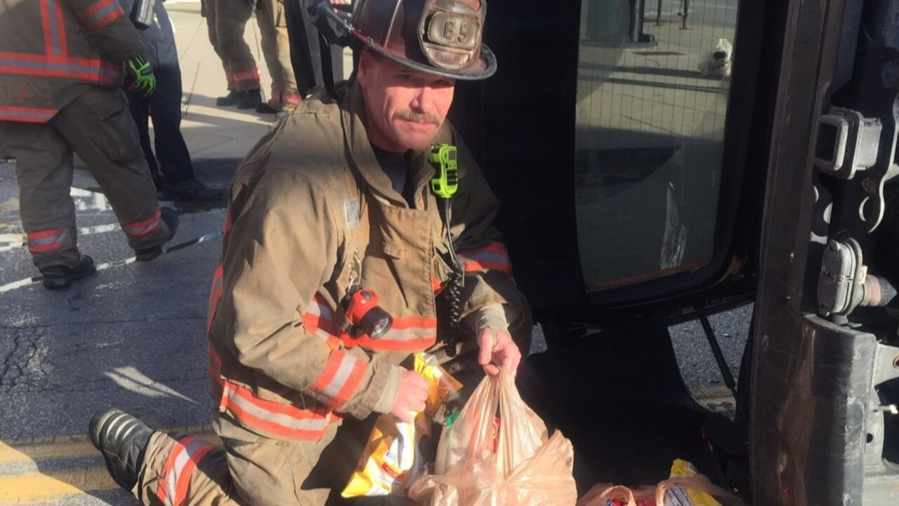 After rescuing woman from rollover crash, firefighters deliver her groceries to her home