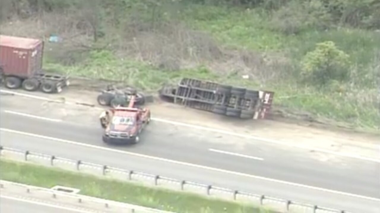 Rollover semi accident closes lanes on southbound US-23 in