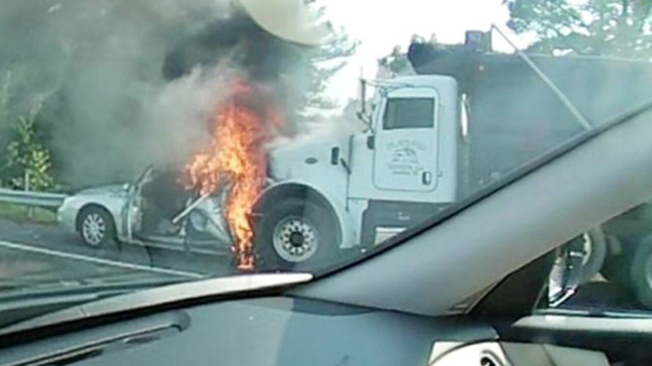 Woman Pulled From Fiery Crash On I-24E