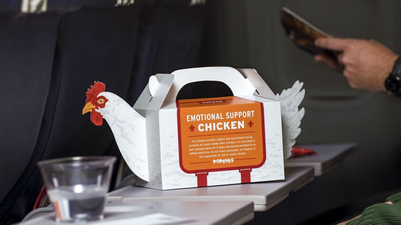 Popeyes selling 'Emotional Support Chicken' for air travelers during the holidays
