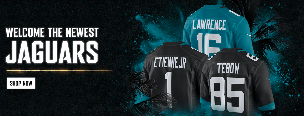 'Welcome the Newest Jaguars' ad featuring Tim Tebow's No. 85 jersey