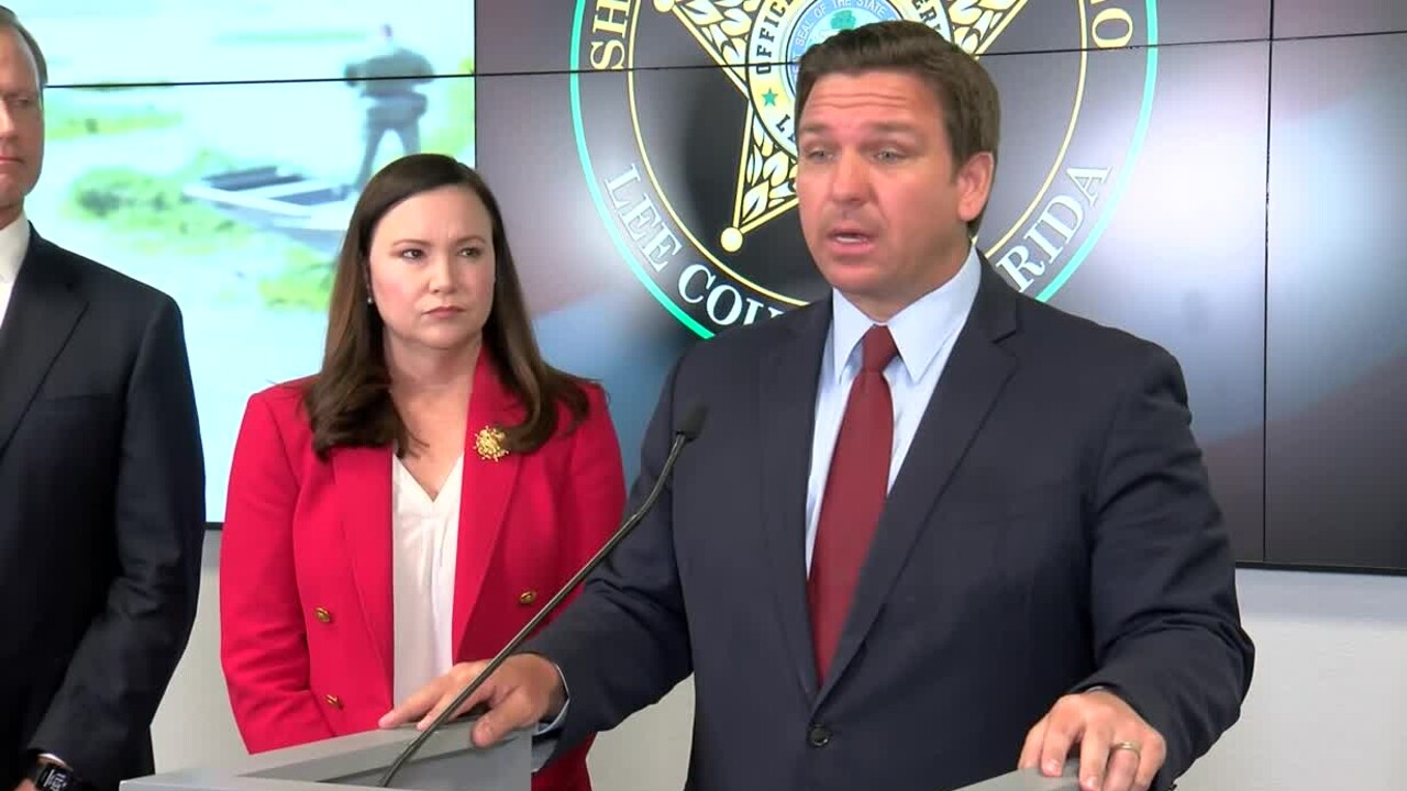 Florida Gov. Ron DeSantis holds a news conference at the Lee County Sheriff's Office in Fort Myers on Sept. 28, 2021.jpg