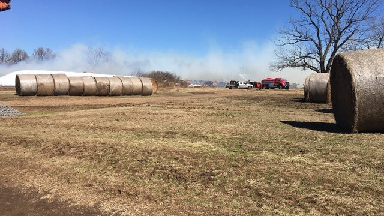 Hundreds of bales of hay catch fire in Wagoner County