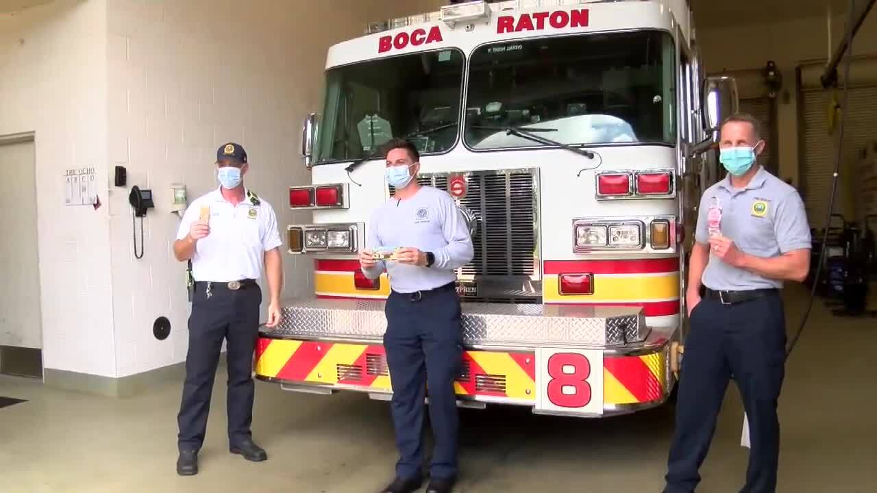 Boca Raton firefighters enjoy popsicles courtesy of Happy & Healthy Products