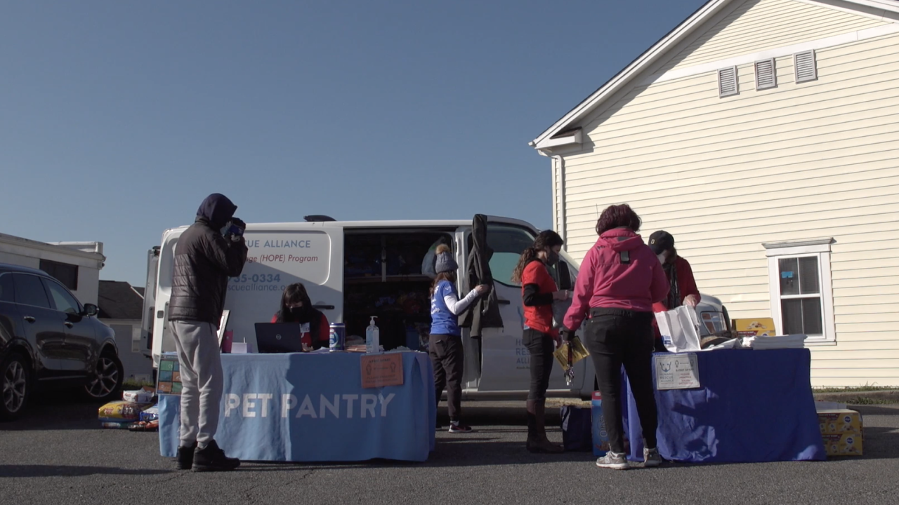 The Humane Rescue Alliance in Washington, D.C. runs a mobile pet pantry. It is one of many located throughout the country, which relies on donations of pet food to help pet owners in need.