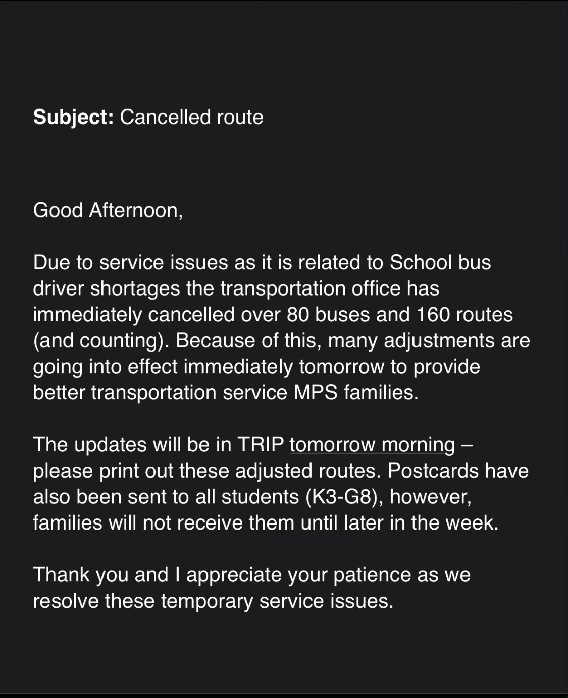 Email of MPS Bus issue