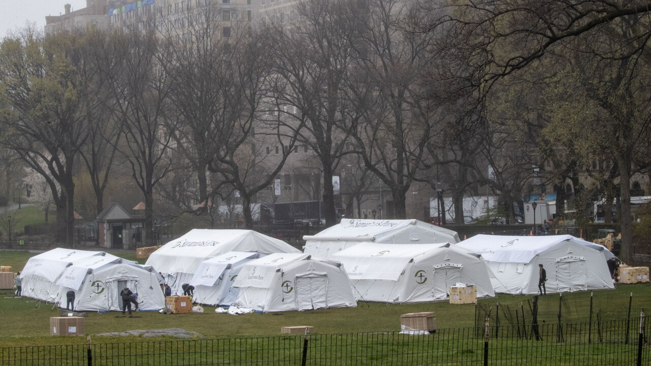Field hospital under construction in Central Park to help with New York outbreak
