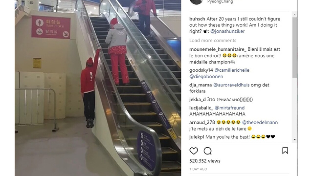 WATCH: Swiss skier Fabian Bosch rides the side of an elevator in PyeongChang