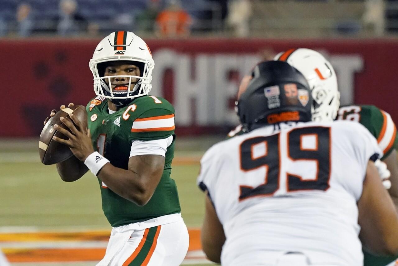 Miami Hurricanes QB D'Eriq King vs. Oklahoma State in 2020 Cheez-It Bowl