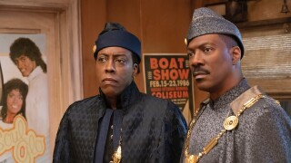 Arsenio Hall and Eddie Murphy in scene from 'Coming 2 America'
