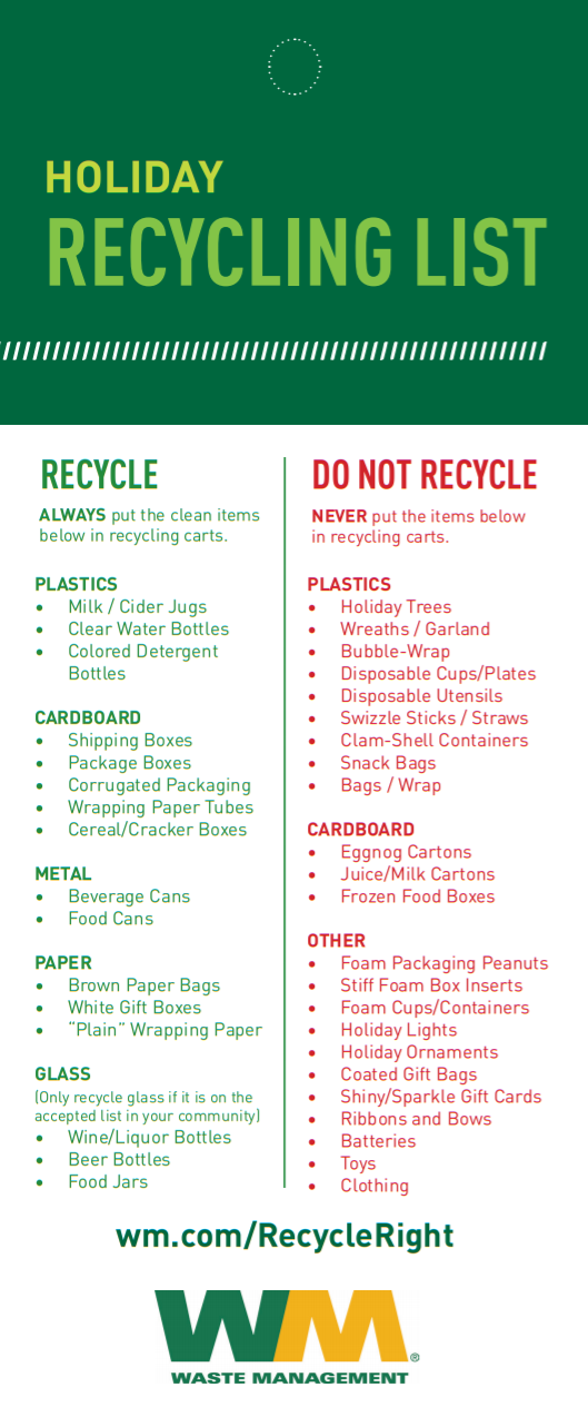 2019 Holiday Recycling List